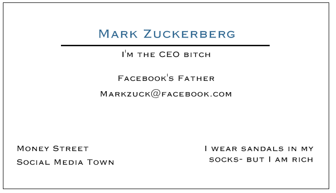 Mark Zuckerberg Business Card Elektronista