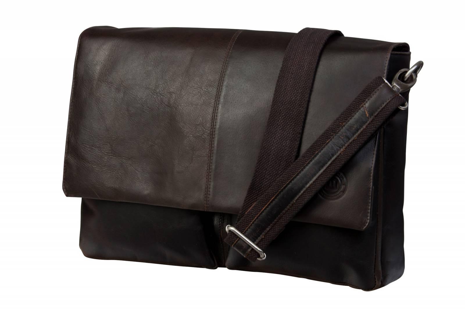 Leather messenger for PC & MacBooks up to 13_ - Hunter dark_main (Custom)