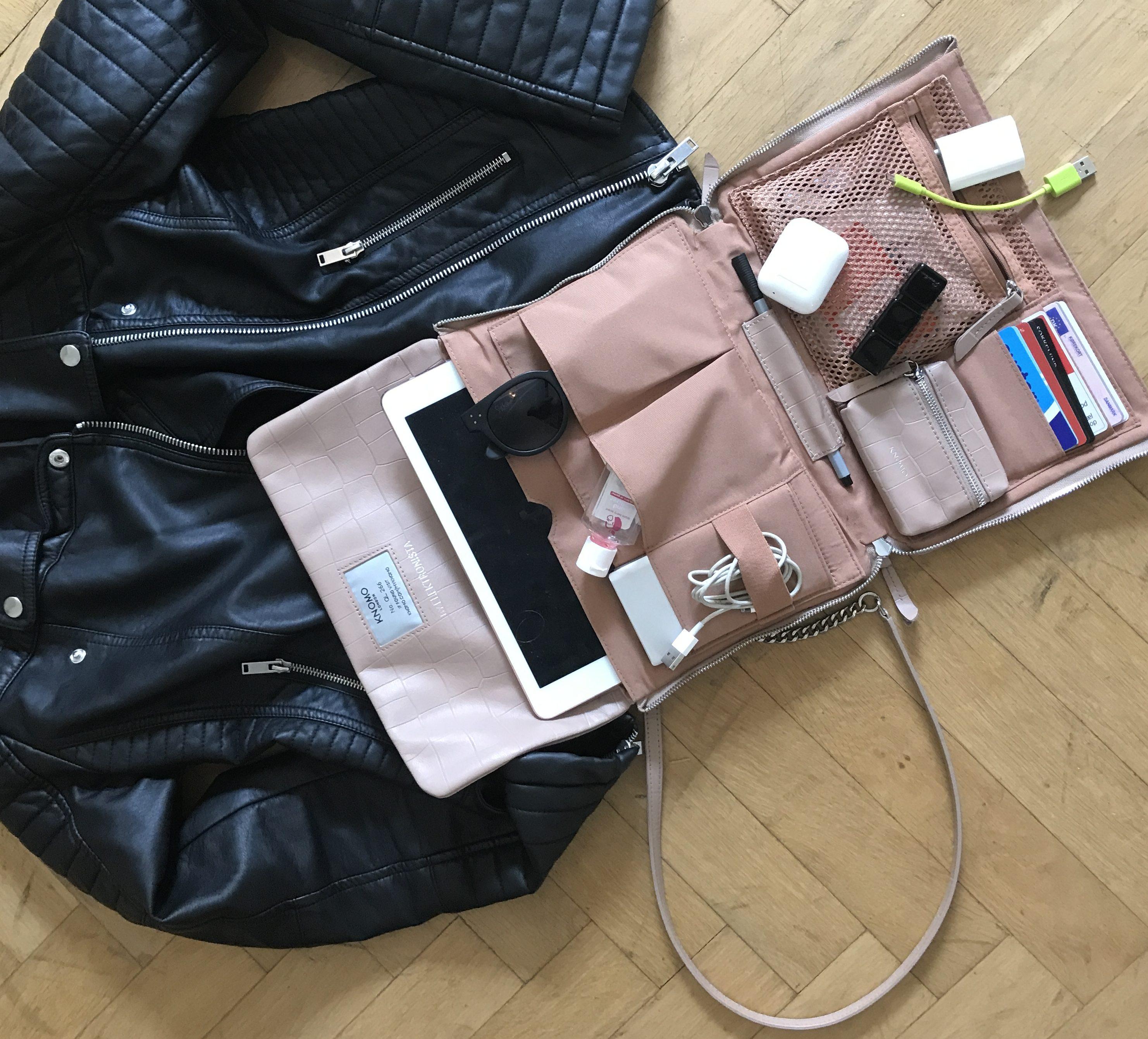 736158fcf10 Sådan så det ud, da Christiane havde pakket sin Elektronista Clutch Nude  Croc til Heartland Festivalen. Tasken har 12 ultrafunktionelle lommer, ...